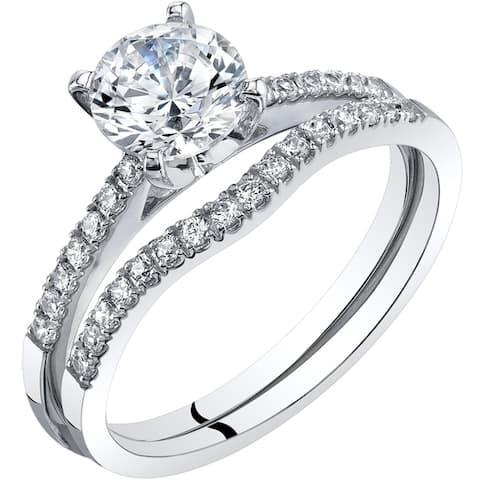 14K White Gold Classic Engagement Ring and Wedding Band Bridal Set