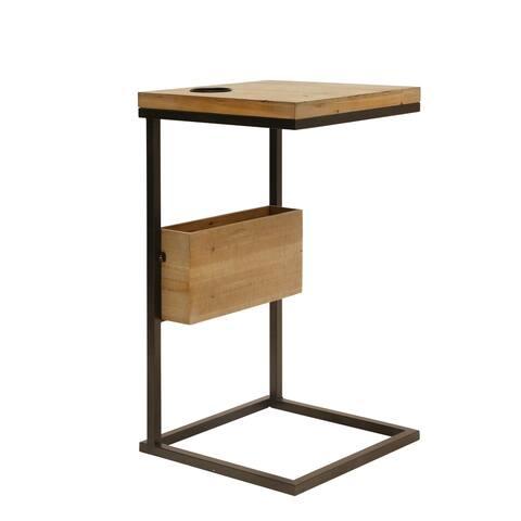 """Wood / Metal 28.25"""" C Table, Brown"""
