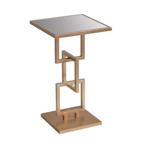 """Metal 24"""" Accent Table W/Mirrorred Top, Gold"""