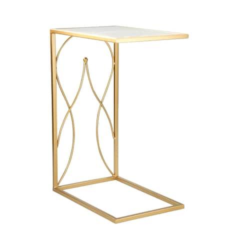 "Metal / Mirror 25"" C Table, Gold"
