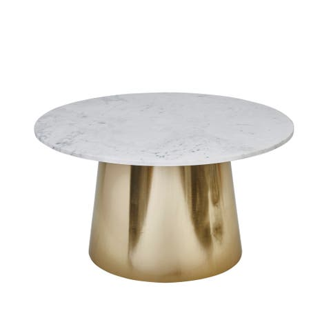 """Iron 31"""" Round Cocktail Table W/ Marble Top, Gold/White"""
