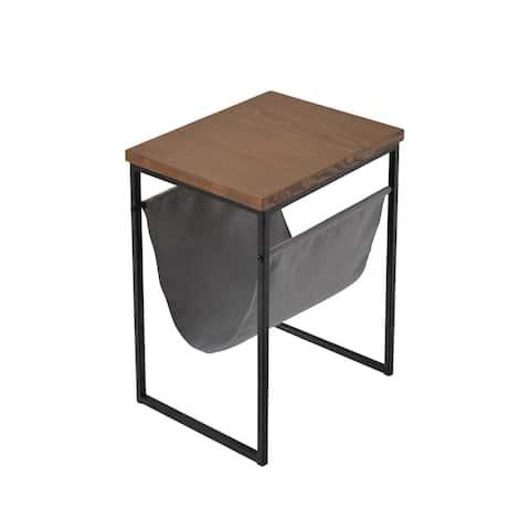 Metal & Wood Accent Table W/Magazine Rack, Black