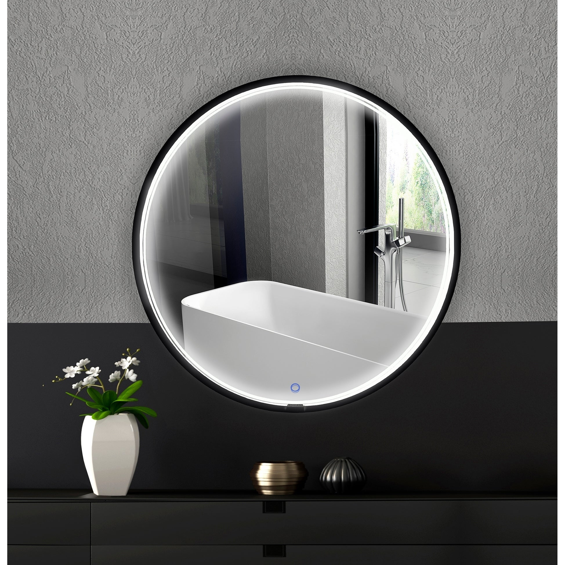 Lucy 36 X 36 Round Black Framed Accent Mirror W Led Lights 36 X 36 Overstock 30951314