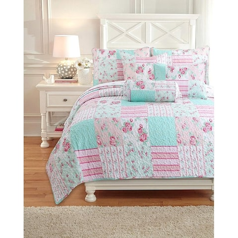 Cozy Line Pink Garden Reversible Bedding Quilt Set