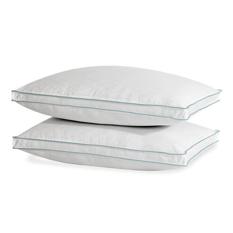 Lauren Ralph Lauren Diamond Jacquard Extra Firm Density, Set of 2 - White/Blue Cord