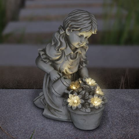 "Solar Girl Watering Flowers Statue - 7.0"" x 10.5"" x 12.5"""