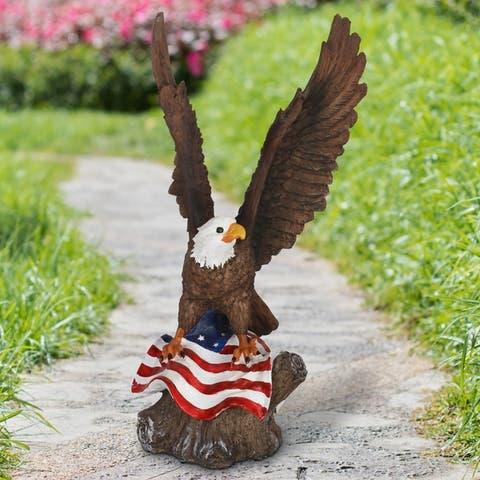 Exhart Eagle on a USA Flag Garden Statue, 17 Inch