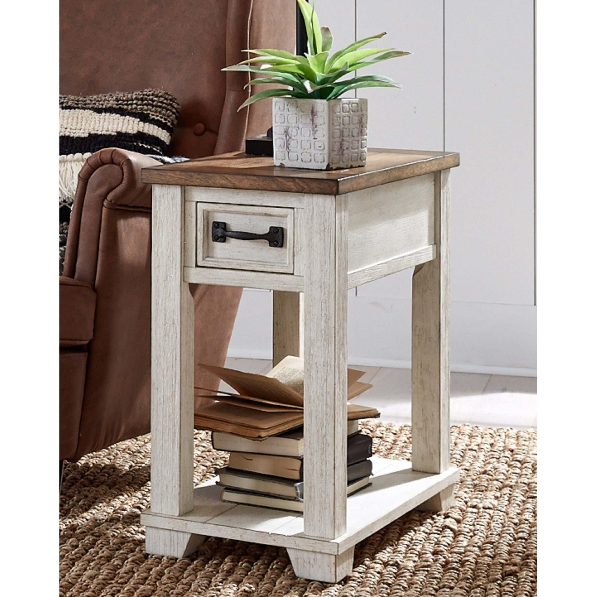 Solid Wood Two Tone Chairside End Table Overstock 30951856