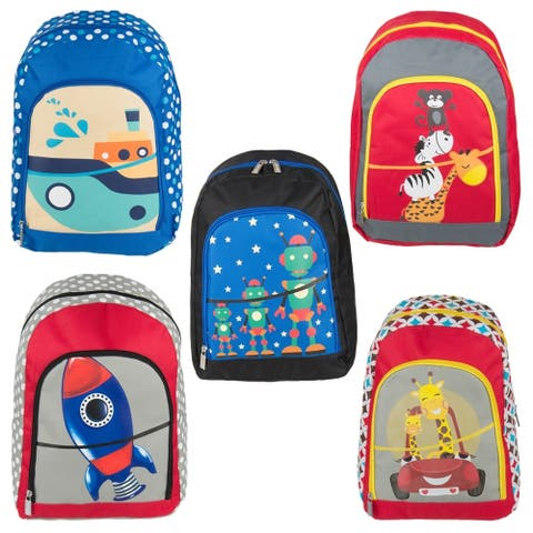 Cute Colorful Printed Graphic Zipper and Strap Backpack for Children