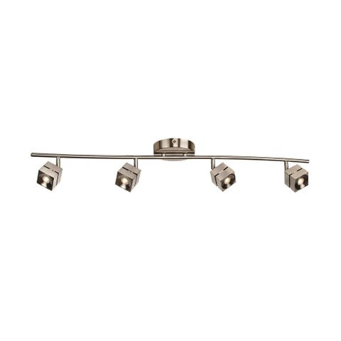 Cantrell 1-light Satin Nickel LED Fixed Rail, Frosted Ribbed White Acrylic Shade