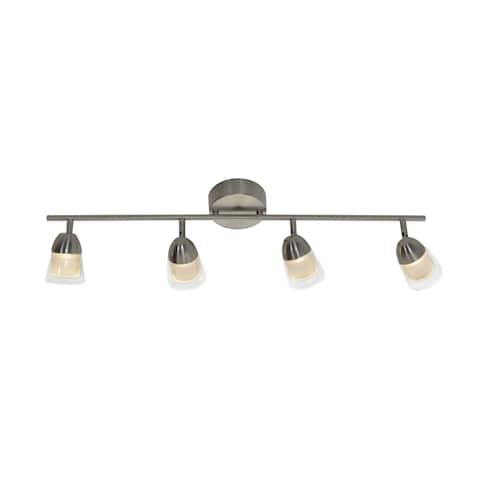 District 1-light Satin Nickel LED Fixed Rail, White Glass Shade