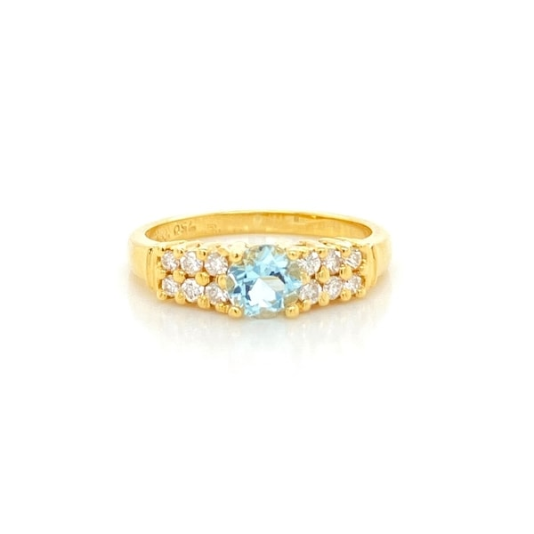 Kabella 14 karat gold round aquamarine and 2 rows diamond ring. Opens flyout.