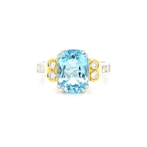 Kabella 14 karat gold rectangular aquamarine and diamond ring