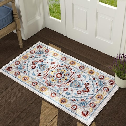 Traditional Vintage Floral Ornament Cream Red Area Rugs