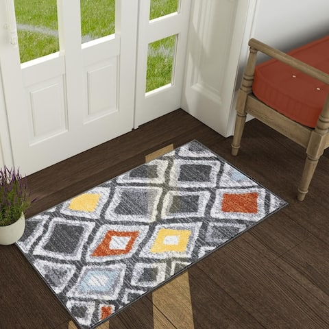 Coastal Mid-century Modern Geometric-motif Area Rug Gray/Red/Yellow