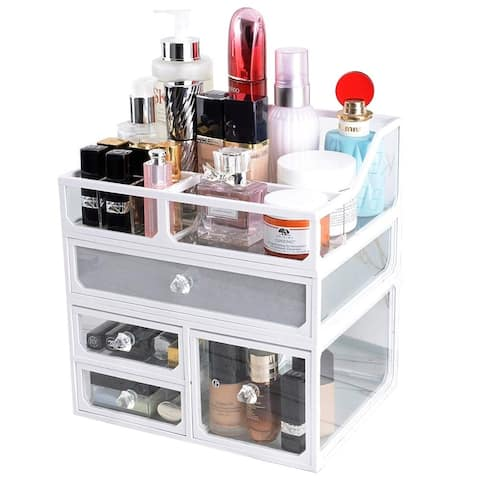 Glass Makeup Cosmetic Organizer Holder, 3 Piece Jewelry and Cosmetic Storage Display Boxes with 4 Drawers, White