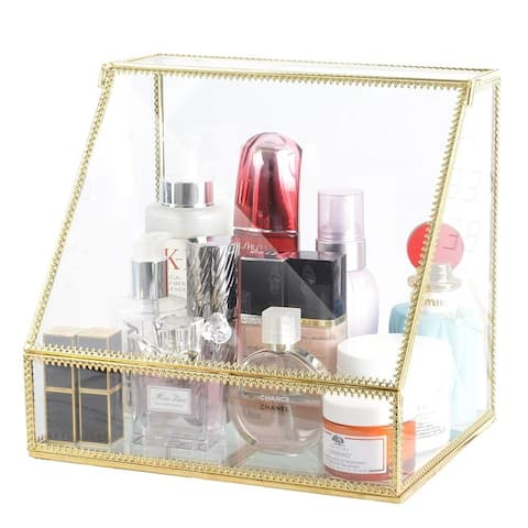 Makeup Organizer Glass with Slanted Front Open Lid, Skincare and Brushes, Trapezoid