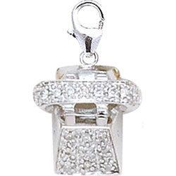 14k White Gold 1/10ct TDW Diamond Telephone Charm