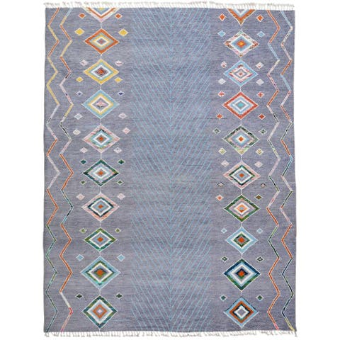 """Large Southwest Moroccan Area Rug Hand-Knotted Living Room Carpet - 9'10"""" x 14'9"""""""