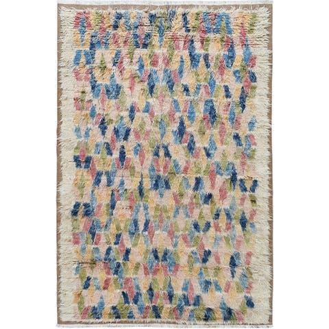 "Modern Plush Shaggy Moroccan Area Rug Handmade Living Room Carpet - 6'8"" x 9'7"""