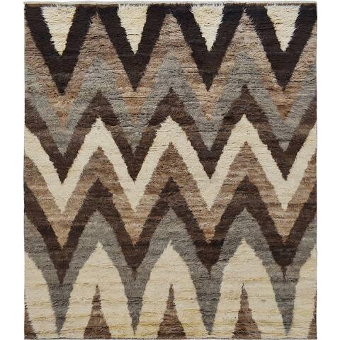 "Chevron Modern Plush Shaggy Moroccan Living Room Area Rug Handmade - 8'5"" x 10'0"""