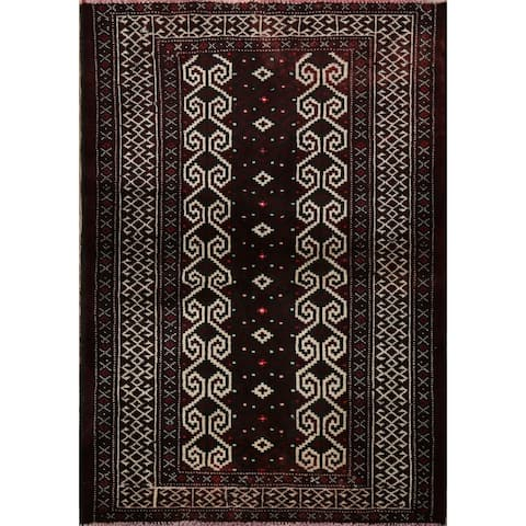 """Decorative Geometric Balouch Persian Area Rug Hand-Knotted Carpet - 2'10"""" x 3'9"""""""
