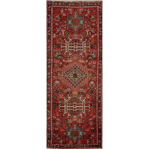 "Vintage Geometric Red Gharajeh Persian Runner Rug Hand-Knotted Carpet - 2'1"" x 5'5"""