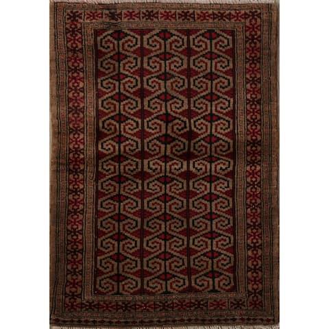 "Brown Geometric Balouch Persian Area Rug Handmade Kitchen Size Carpet - 2'7"" x 3'7"""