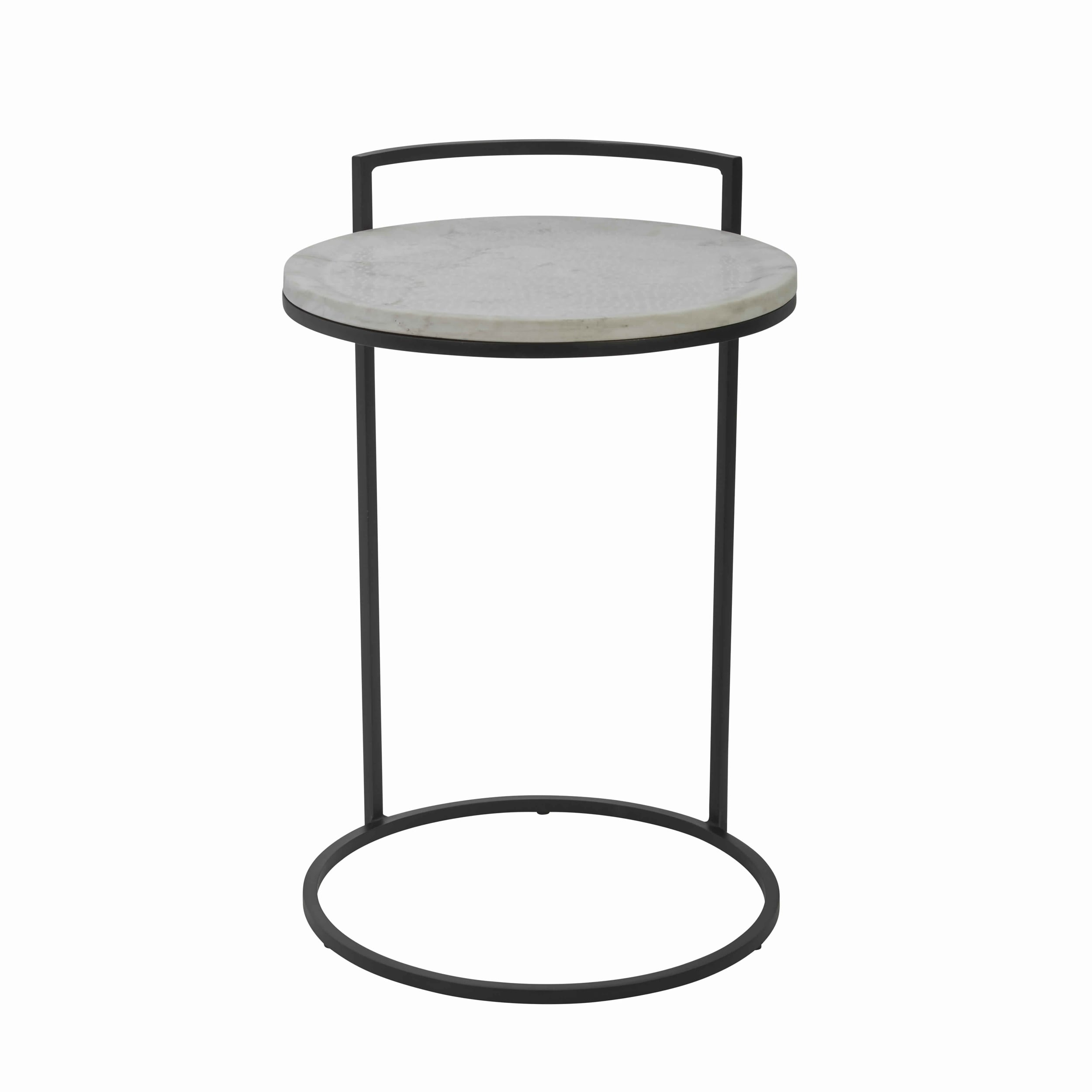- Shop Round Marble Top Accent Table With Circular Metal Base, Black