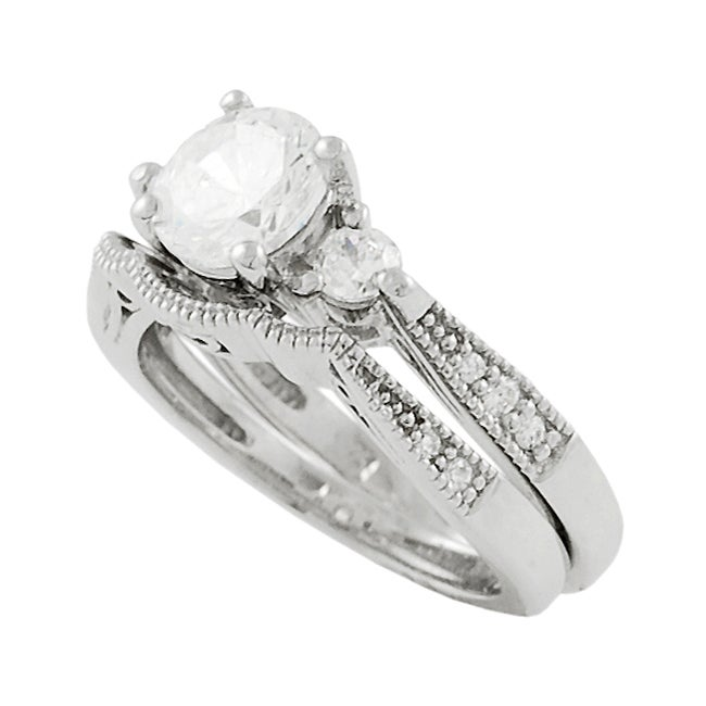 Journee Sterling Silver Cubic Zirconia 2-piece Ring Set