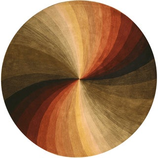 "Hand-tufted Wool Contemporary Abstract Swirl Rug - 7'9"" Round"