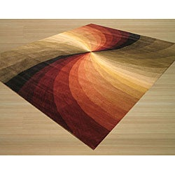 Hand-tufted Wool Contemporary Abstract Swirl Rug (8'9 x 11'9) - Thumbnail 1