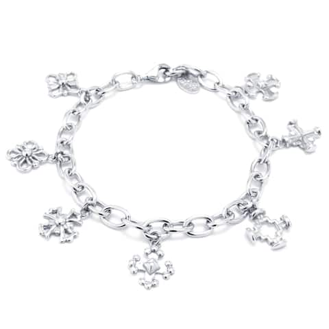 Sterling Silver Cut Out Charm Bracelet