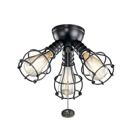 Kichler Lighting LED Industrial 3-Light Fixture Satin Black