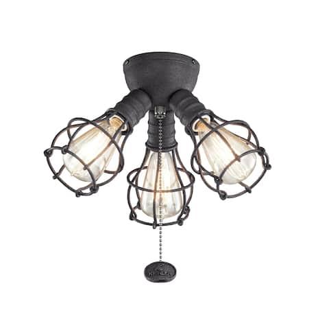 Kichler Lighting LED Industrial 3-Light Fixture Distressed Black