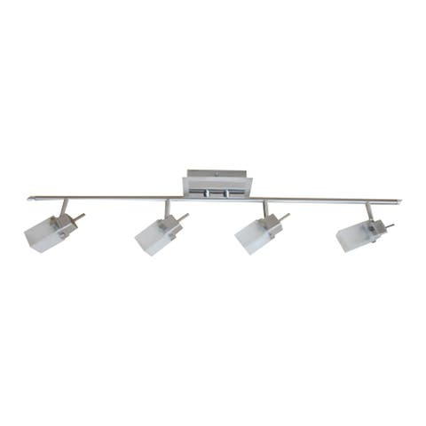 4 Light Track Light in Brushed Nickel Finish with Frosted Glass