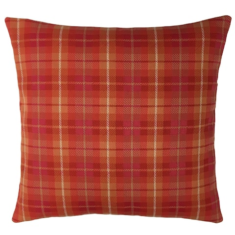 Red Plaid Outdoor Throw Pillow