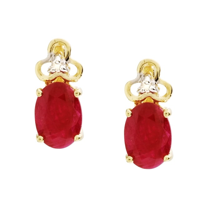 Kabella 14k Yellow Gold Ruby Diamond Stud Earrings