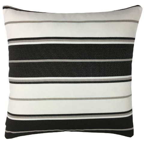 Black and White Striped Outdoor Throw Pillow
