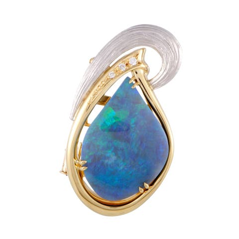 Yellow Gold and Platinum Diamond and Blue Green Opal Oval Pendant Brooch