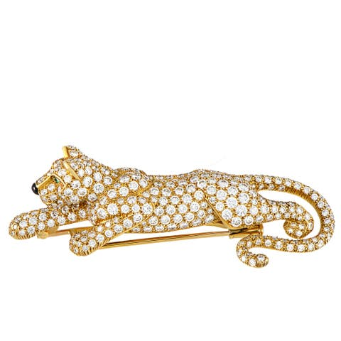 Cartier Panthère Vintage Yellow Gold 8.00 ct Diamond, Onyx and Emerald Brooch