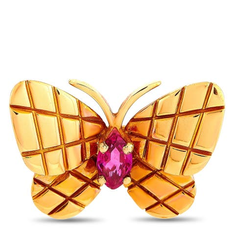 Van Cleef & Arpels Vintage Rose Gold and Ruby Butterfly Brooch