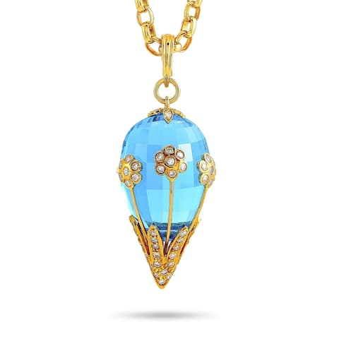 """Yellow Gold 0.60 ct Diamond and Topaz Chain Pendant Necklace Length 20"""" LB Exclusive - White"""