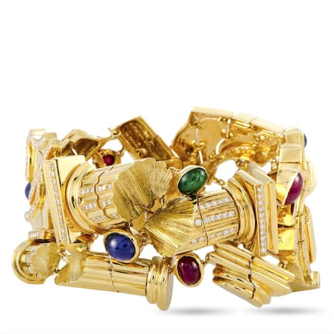 Roman Ruins Yellow Gold Diamond, Emerald, Sapphire and Ruby Bracelet LB Exclusive - White