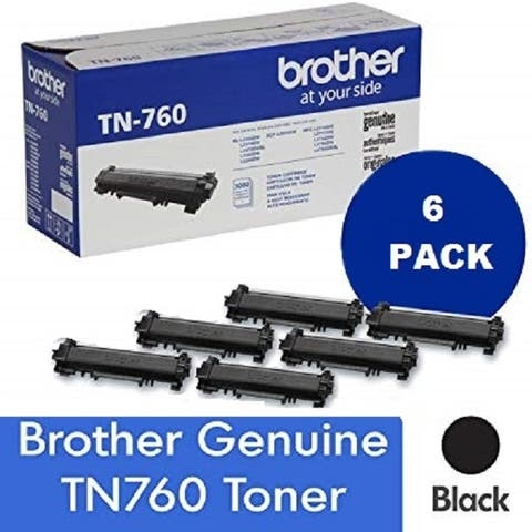 Genuine Brother TN 760 High Yield Black Toner Cartridge, 6-Pack, 3,000 Page Yield/Cartridge, TN-760