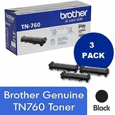Genuine Brother TN 760 High Yield Black Toner Cartridge, 3-Pack, 3,000 Page Yield/Cartridge, TN-760