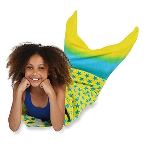 Yellow Starts Mermaid Tail Shaped Towel for Girls Cotton