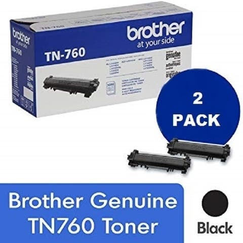 Genuine Brother TN 760 High Yield Black Toner Cartridge, 2-Pack, 3,000 Page Yield/Cartridge, TN-760