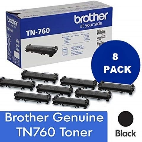 Genuine Brother TN 760 High Yield Black Toner Cartridge, 8-Pack, 3,000 Page Yield/Cartridge, TN-760