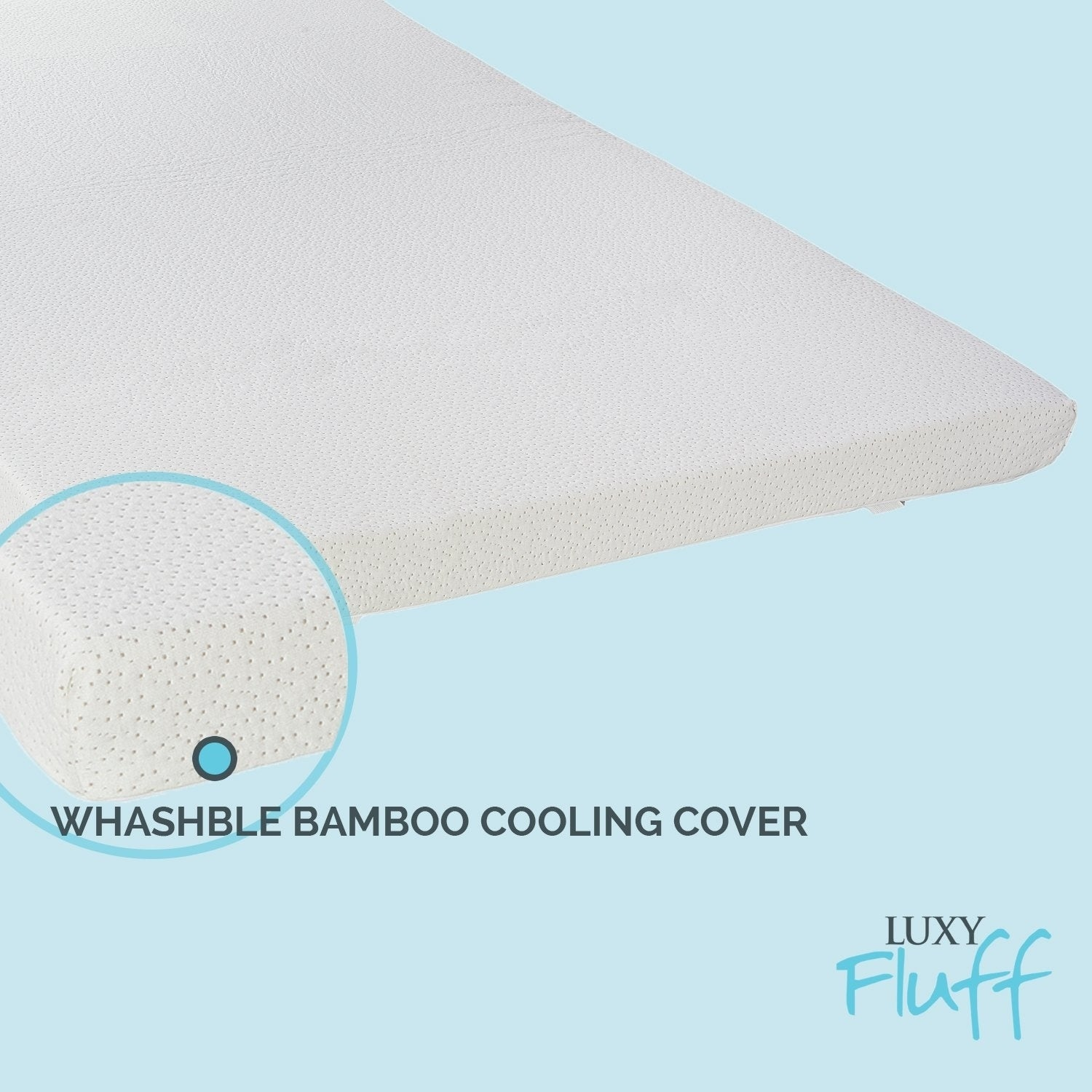 3 Inch Gel-Infused Memory Foam Mattress Topper Cooling Bamboo Removable Cover
